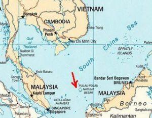 Peta Wilayah Laut China Selatan, tampak pada gambar Pulau Natuna yang merupakan wilayah Indonesia.