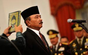 Laksamana Madya TNI Arie Soedewo saat pengambilan sumpah menjadi Kepala Bakamla RI.