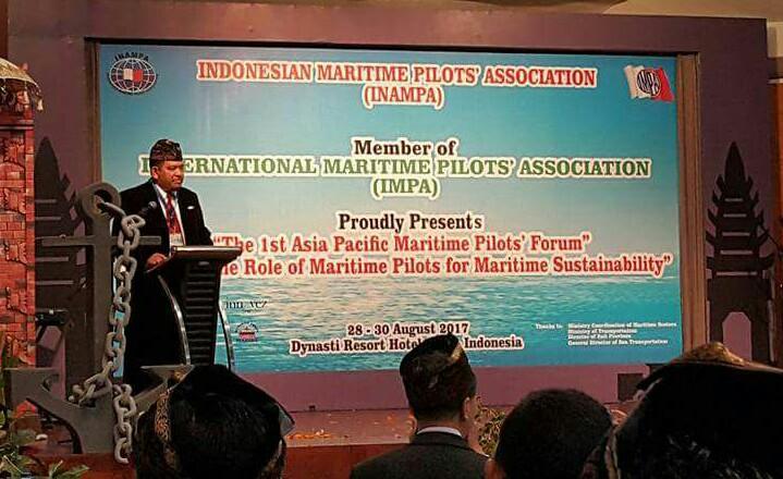 Pasoroan Herman Harianja saat memberi kata sambutan | maritimnews.com