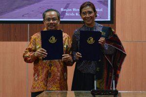 Menteri Susi saat mengisi acara Seminar Nasional dan FGD Forum Rektor Kita di Sumbawa, Nusa Tenggara Barat, Sabtu (12/8)