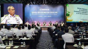 Kapushidrosal Laksamana Muda TNI Harjo Susmoro saat memaparkan makalahnya dalam 13th International Seapower Symposium di Korea Selatan.