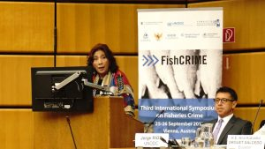 Menteri Kelautan dan Perikanan Susi Pudjiastuti saat berbicara di The 3rd International Symposium on Fisheries Crime di markas UNODC Vienna (25/9)
