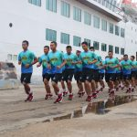 Jaga Kondisi Fisik, Satgas Maritime Task Force Konga Olahraga Bersama
