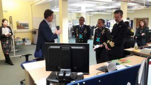 Kapushidrosal Laksda TNI Harjo Susmoro didampingi Letkol Laut (P) Oke Dwiyana saat menerima penjelasan dari personel UKHO, di Taunton, Inggris.