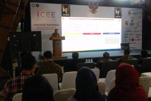 Deputi Bidang Sarana dan Prasarana Kementerian PPN/Bappenas Wismana Adi Suryabrata saat mewakili Menteri PPN/Bappenas Bambang Brodjonegoro menjadi pembicara kunci dalam Seminar ICEE 2018.