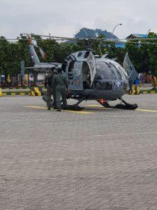 Helikopter Tim SAR Lomba Renan dan Dayung Selat Sunda 2018.