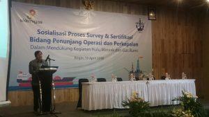 Direktur Utama PT. BKI Rudiyanto saat berbicara dalam Sosialisasi Proses Survey dan Sertifikasi Bidang Penunjang Operasi dan Perkapalan Dalam Mendukung Kegiatan Hulu Minyak dan Gas Bumi, di Hotel Bogor Icon, Kamis (19/4).