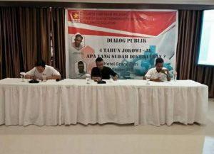 Diskusi publik tentang refleksi kepemimpinan pemerintahan Presiden Joko Widodo dan Wakil Presiden Jusuf Kalla dengan tema di Hotel Grand Puri Perintis, Jum'at (5/10).