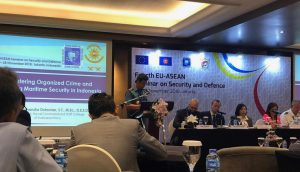 Danseskoal saat menjadi pembicara pertama dalam 4TH EU-ASEAN Seminar on Security and Defence.