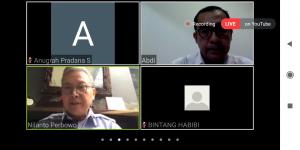 """Suasana diskusi yang bertajuk """"Pelaksanaan Jaring Pengaman Sosial bagi Nelayan dan Pekerja Perikanan"""" yang  dihelat oleh DFW Indonesia melalui aplikasi Zoom."""