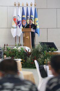 Laksda TNI (Purn) Dr Surya Wiranto saat berbicara di Seminar Maritim Nasional TA 2020.