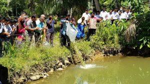 Kepala Dinas Perikanan Kabupaten Pasaman Barat, Arial Efendi, bersama para siswa dan guru saat melepas 2.000 ekor benih ikan nila di MTS Muhammdiyah Silaping, Rabu (6/1). (dok. Pikiran Rakyat)